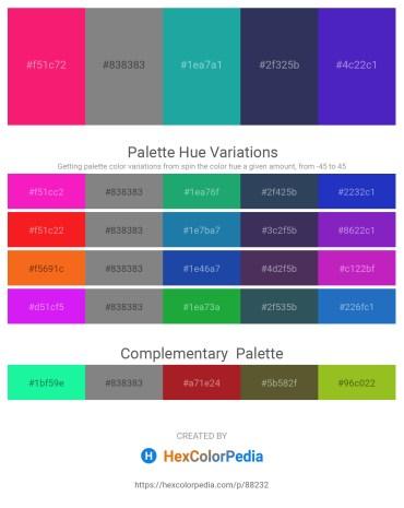 Palette image download - Deep Pink – Gray – Light Sea Green – Dark Slate Gray – Blue Violet
