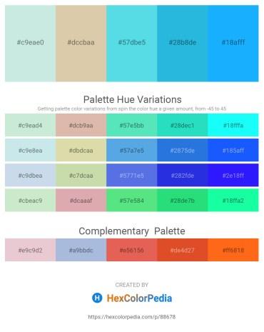 Palette image download - Powder Blue – Tan – Turquoise – Peach Puff – Dodger Blue