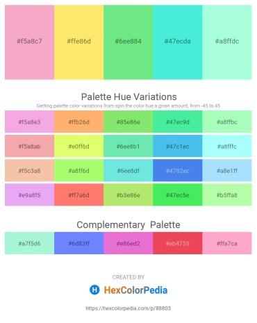 Palette image download - Violet – Navajo White – Light Green – Turquoise – Aquamarine
