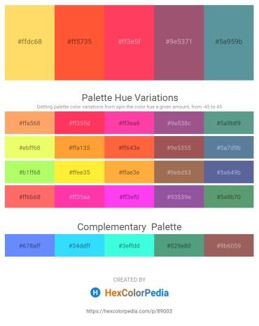 Palette image download - Pink – Tomato – Tomato – Light Green – Cadet Blue