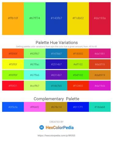 Palette image download - Orange – Pale Green – Royal Blue – Gold – Crimson