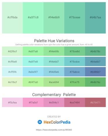 Palette image download - Pale Turquoise – Pale Green – Light Green – Medium Aquamarine – Cadet Blue