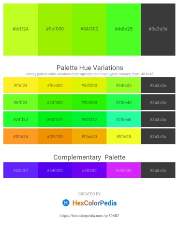 Palette image download - Green Yellow – Chartreuse – Lawn Green – Lawn Green – Dim Gray