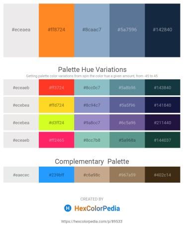 Palette image download - White Smoke – Dark Orange – Light Steel Blue – Slate Gray – Midnight Blue