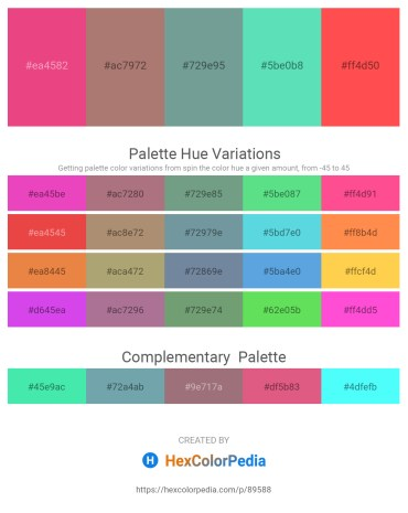 Palette image download - Light Coral – Rosy Brown – Cadet Blue – Turquoise – Tomato