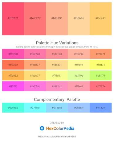 Palette image download - Tomato – Salmon – Light Salmon – Navajo White – Violet