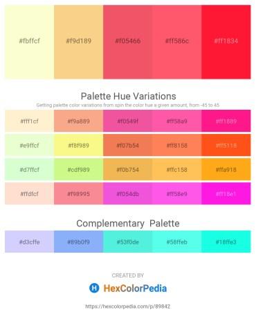 Palette image download - Lemon Chiffon – Khaki – Light Coral – Tomato – Red