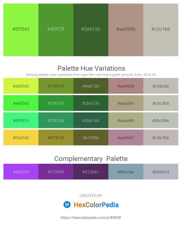 Palette image download - Green Yellow – Olive Drab – Dark Olive Green – Rosy Brown – Silver