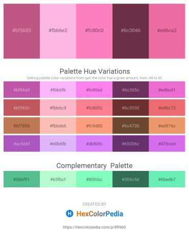 Palette image download - Indian Red – Pink – Hot Pink – Chocolate – Light Coral