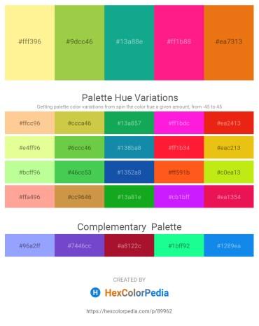 Palette image download - Navajo White – Yellow Green – Light Sea Green – Deep Pink – Chocolate