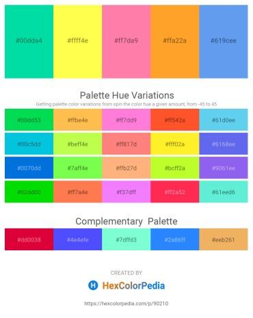 Palette image download - Medium Spring Green – Green Yellow – Hot Pink – Orange – Cornflower Blue