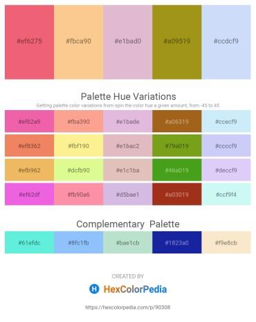 Palette image download - Light Coral – Navajo White – Plum – Dark Goldenrod – Lavender