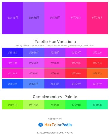 Palette image download - Dark Violet – Medium Slate Blue – Dark Violet – Magenta – Deep Pink