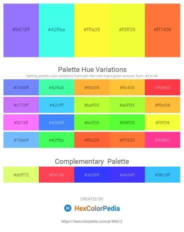 Palette image download - Medium Slate Blue – Aquamarine – Yellow – Yellow – Tomato