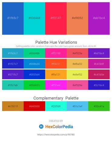 Palette image download - Royal Blue – Dark Turquoise – Tomato – Sandy Brown – Blue Violet