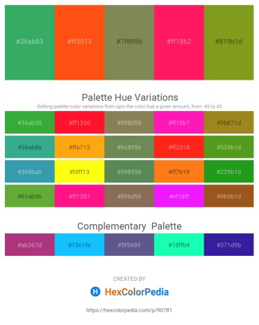 Palette image download - Medium Sea Green – Orange Red – Dark Olive Green – Deep Pink – Olive Drab