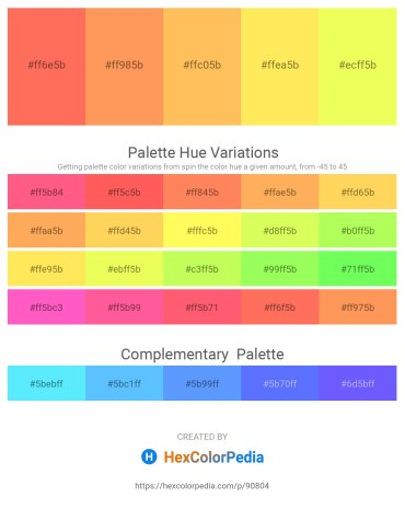 Palette image download - Coral – Coral – Sandy Brown – Green Yellow – Green Yellow