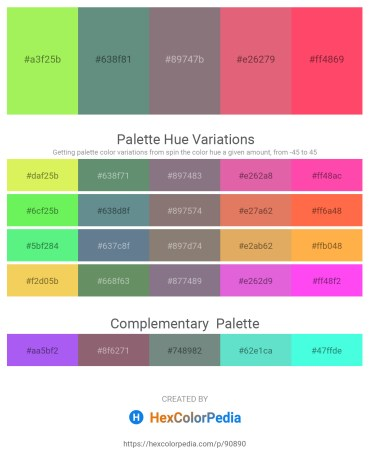 Palette image download - Green Yellow – Cadet Blue – Gray – Pale Violet Red – Tomato