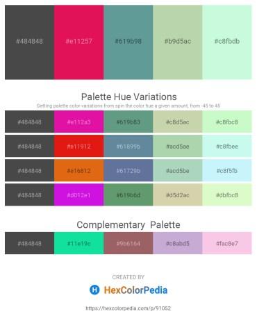 Palette image download - Dim Gray – Crimson – Cadet Blue – Dark Sea Green – Honeydew