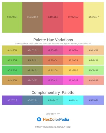 Palette image download - Yellow Green – Rosy Brown – Indian Red – Salmon – Khaki