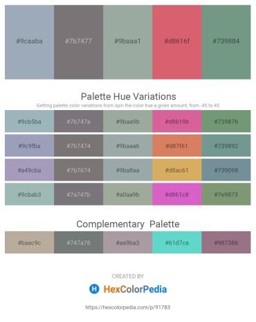 Palette image download - Light Slate Gray – Gray – Dark Sea Green – Indian Red – Cadet Blue