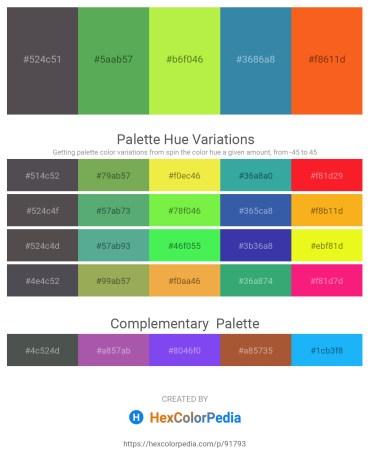 Palette image download - Dim Gray – Medium Sea Green – Green Yellow – Steel Blue – Orange Red