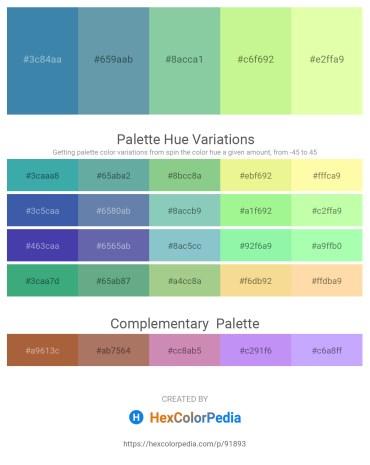 Palette image download - Steel Blue – Cadet Blue – Dark Sea Green – Pale Green – Lemon Chiffon