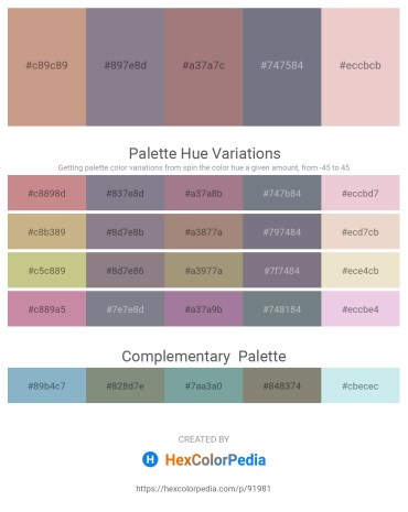 Palette image download - Tan – Slate Gray – Rosy Brown – Slate Gray – Deep Pink