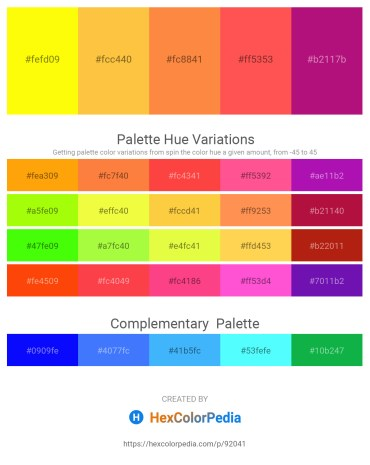 Palette image download - Yellow – Sandy Brown – Coral – Tomato – Medium Violet Red