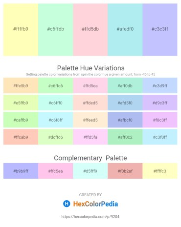Palette image download - Lemon Chiffon – Honeydew – Misty Rose – Pale Turquoise – Alice Blue