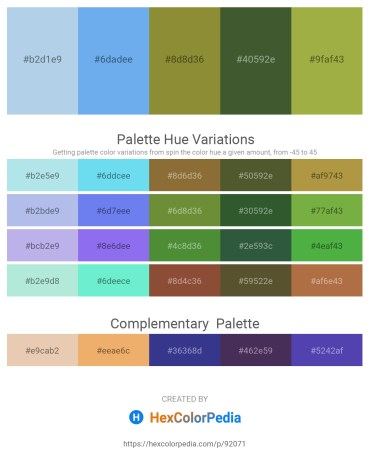 Palette image download - Light Blue – Cornflower Blue – Olive Drab – Dark Olive Green – Dark Khaki