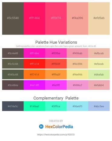 Palette image download - Dim Gray – Deep Pink – Tomato – Light Coral – Pale Goldenrod