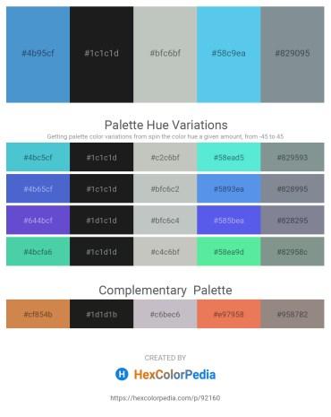 Palette image download - Steel Blue – Dark Slate Gray – Dark Sea Green – Turquoise – Light Slate Gray
