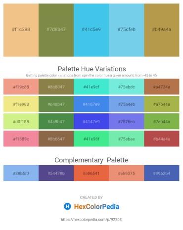 Palette image download - Khaki – Dark Olive Green – Turquoise – Sky Blue – Dark Khaki