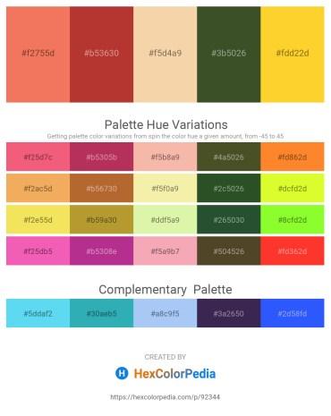 Palette image download - Salmon – Brown – Wheat – Dark Olive Green – Gold