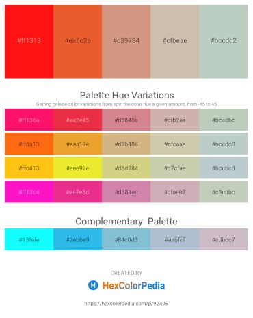 Palette image download - Red – Chocolate – Tan – Rosy Brown – Dark Sea Green