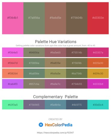 Palette image download - Hot Pink – Gray – Rosy Brown – Dim Gray – Firebrick