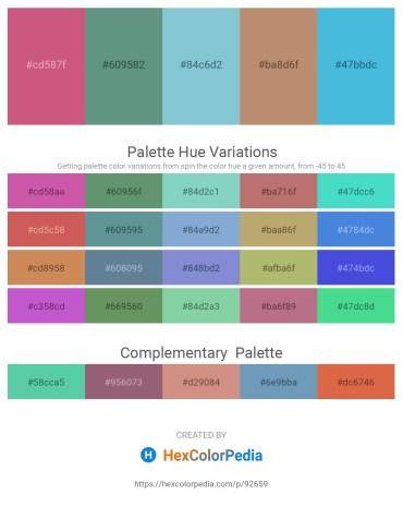 Palette image download - Indian Red – Cadet Blue – Medium Aquamarine – Hot Pink – Medium Turquoise