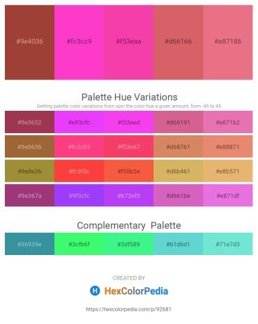 Palette image download - Sienna – Hot Pink – Deep Pink – Indian Red – Light Coral