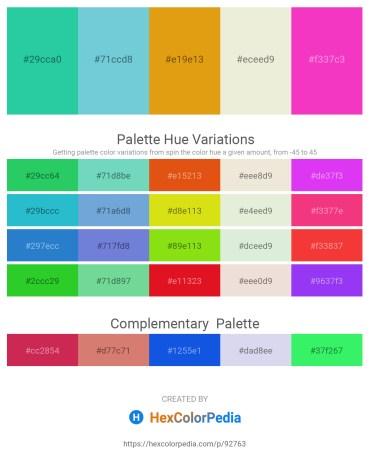 Palette image download - Light Sea Green – Medium Turquoise – Goldenrod – Beige – Deep Pink