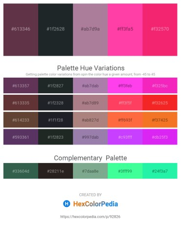 Palette image download - Sienna – Dark Slate Gray – Rosy Brown – Hot Pink – Deep Pink