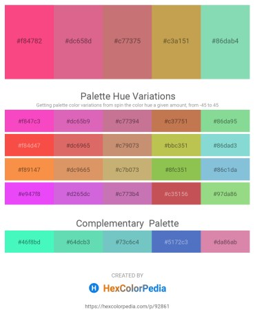 Palette image download - Deep Pink – Pale Violet Red – Indian Red – Peru – Medium Aquamarine