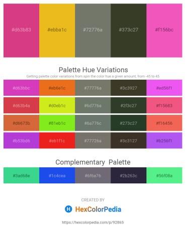 Palette image download - Pale Violet Red – Goldenrod – Dim Gray – Dark Olive Green – Hot Pink