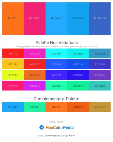 Palette image download - Dark Orange – Deep Pink – Dodger Blue – Dodger Blue – Steel Blue