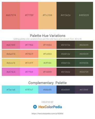 Palette image download - Dark Salmon – Salmon – Khaki – Olive Drab – Dark Olive Green