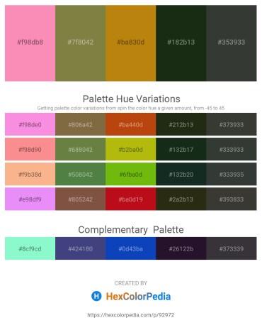 Palette image download - Hot Pink – Dark Olive Green – Dark Goldenrod – Dark Slate Gray – Dark Slate Gray