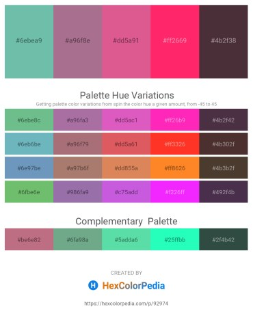 Palette image download - Medium Aquamarine – Rosy Brown – Pale Violet Red – Deep Pink – Indian Red