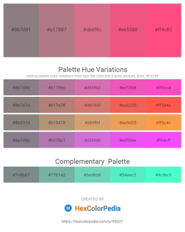 Palette image download - Gray – Rosy Brown – Pale Violet Red – Light Coral – Hot Pink