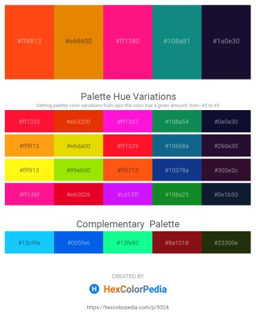 Palette image download - Orange Red – Dark Orange – Deep Pink – Dark Cyan – Midnight Blue