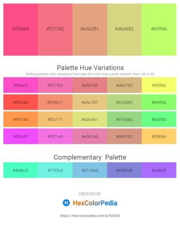 Palette image download - Hot Pink – Light Coral – Dark Salmon – Burlywood – Green Yellow